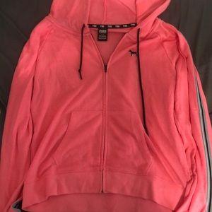 VSPINK hot pink full zip hoodie